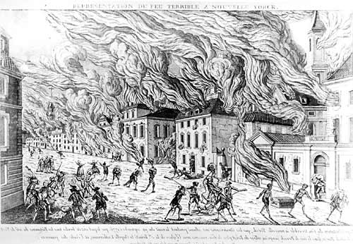 The buildings on fire on Maiden Land during the 1712 Slave Rebellion