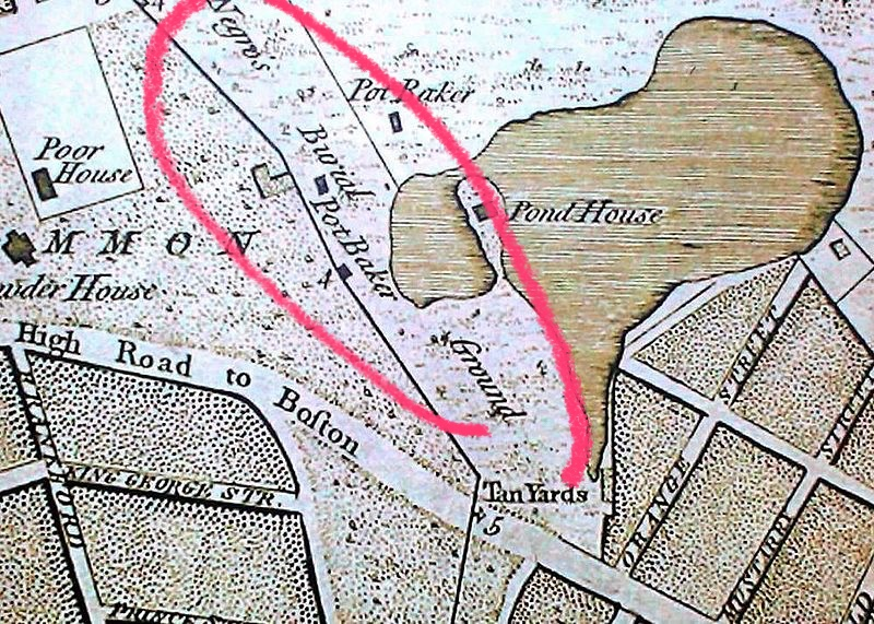Wikimedia: Negro's Burial Ground to the left of the pond in this map.