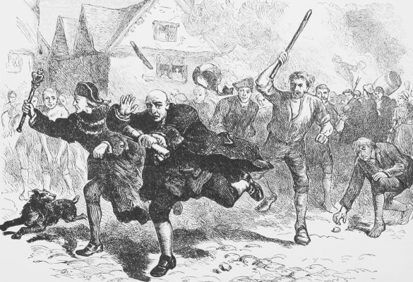 An angry mob chases after the stamp collector