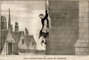 Jack Sheppard escaping from prison by climbing down with a sheet