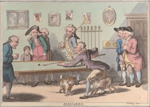 Satire illustration of gentlemen playing billiards, dogs playing at their feet, some anxious over the outcome.