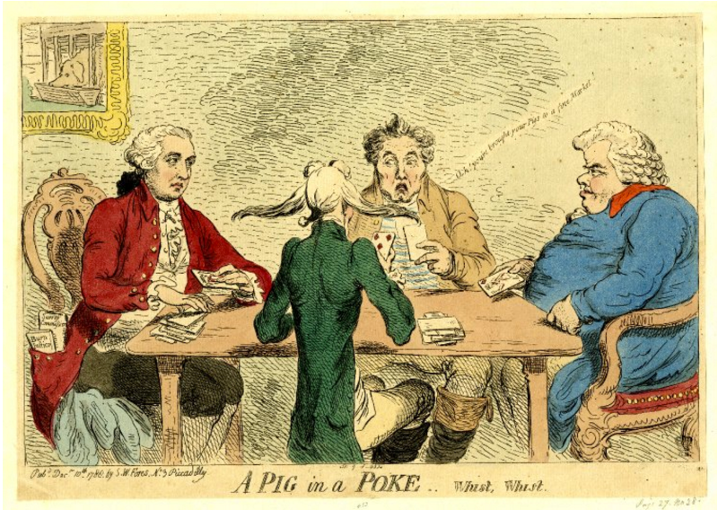Gentlemen sitting around a table playing cards.