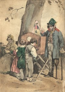 Man stands at his peep show box. Three children in front of it, looking into the holes. An older lady waits in a chair.