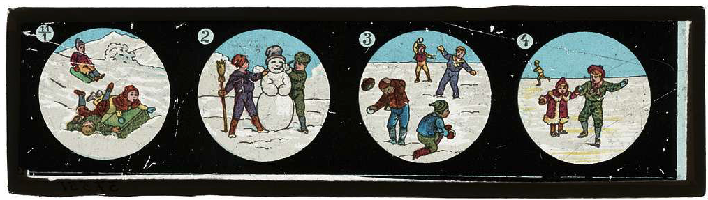 A set of 4 images of children playing in the snow. 1 sledding, 2 building a snowman, 3 snowball fight, 4 ice skating