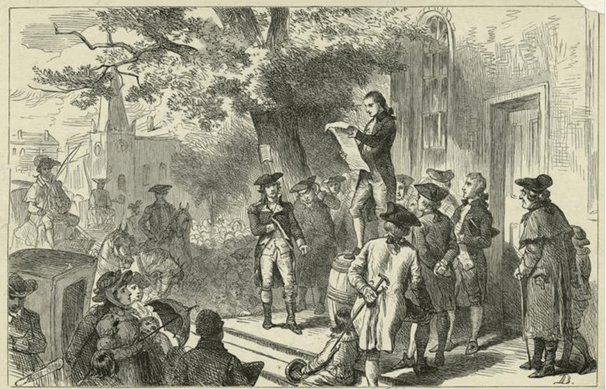 """Announcing the Founding,"" Secretary of the 1777 Convention, Robert Benson, mounted a barrel in front of the courthouse and read the document to assembled citizens."