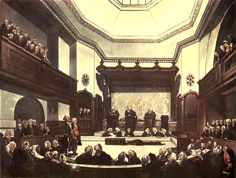 Painting of a British courtroom with robed men seated on the floor level and in the gallery.