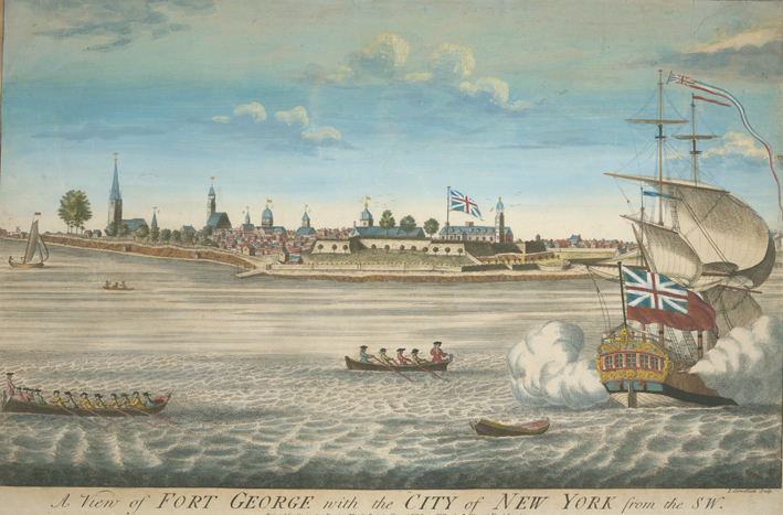 Ships approach the fortress at the tip of New York City. A Union Jack flies above the fort.