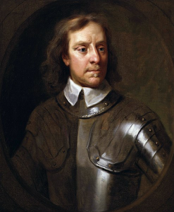 Painting of Oliver Cromwell in armor.