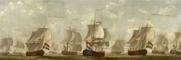 A fleet of Dutch merchant ships, sails billowing, flying the Dutch red, white, and blue flag.