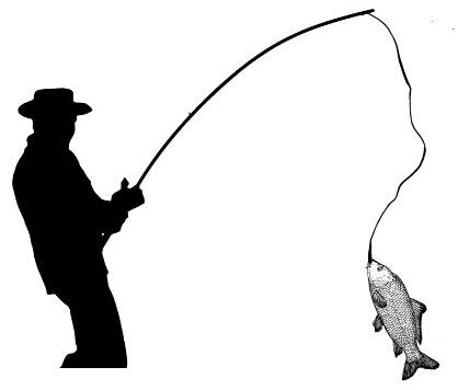 Man fishing, rod in hand, fish dangling from the tip of his fishing rod.