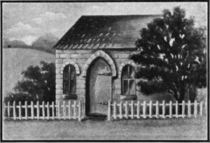 A print of the Mill Street Synagogue. A small building with a picket fence in front of it.