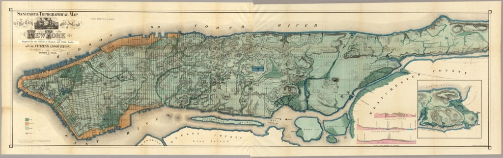 A full map of Manhattan. A grid is laid over the majority of the island which includes all the waterways known in 1865.