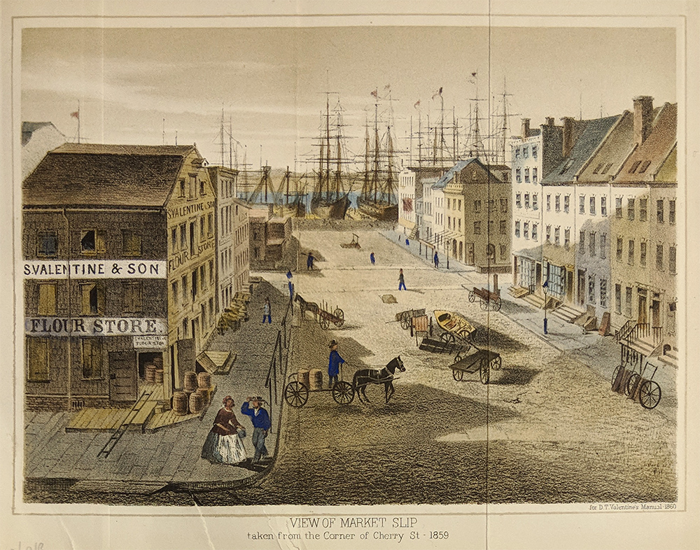 View of Market Slip taken from the corner of Cherry St. 1859