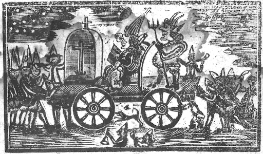 A conveyance and a parade to burn Guy Fawkes in effigy.