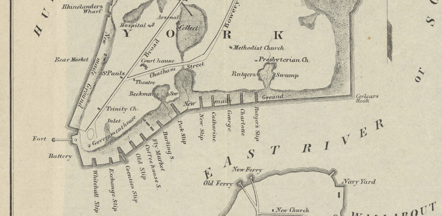 Basic map of New York showing the slips along the East River.