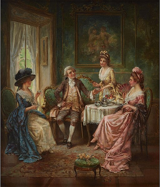 Three ladies and a gentleman sit around a table drinking tea and socializing. Painting.