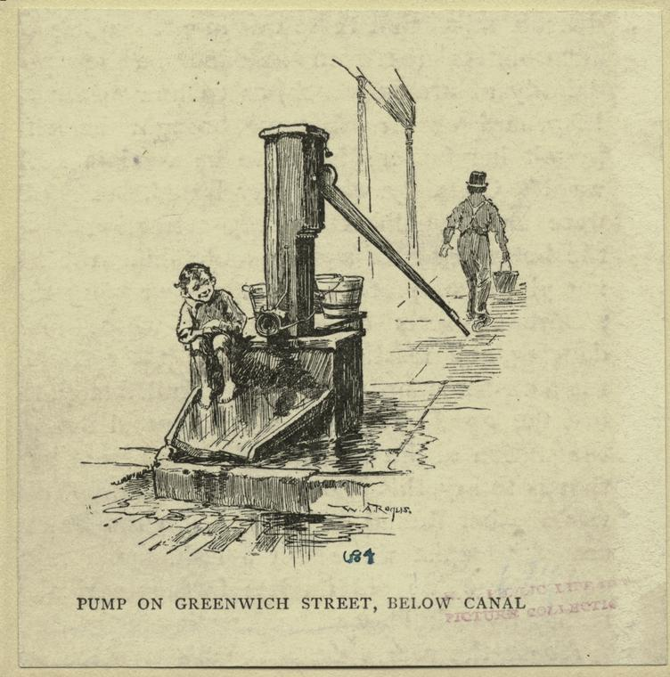 Etching: A small boy sits on the side of a street pump. A man in the distance walks away with a bucket. Pump on Greenwhich Street, Blow Canal.