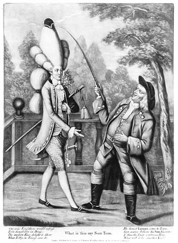 """""""What! Is this my son Tom?"""", a June 24th 1774 caricature on extreme """"Macaroni"""" fashions of the 1770s. """"Honest farmer"""" with adult son who has large, elaborate hairstyle and stylish clothes."""