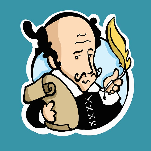 A cartoon of Shakespeare holding a quill and a scroll of paper.