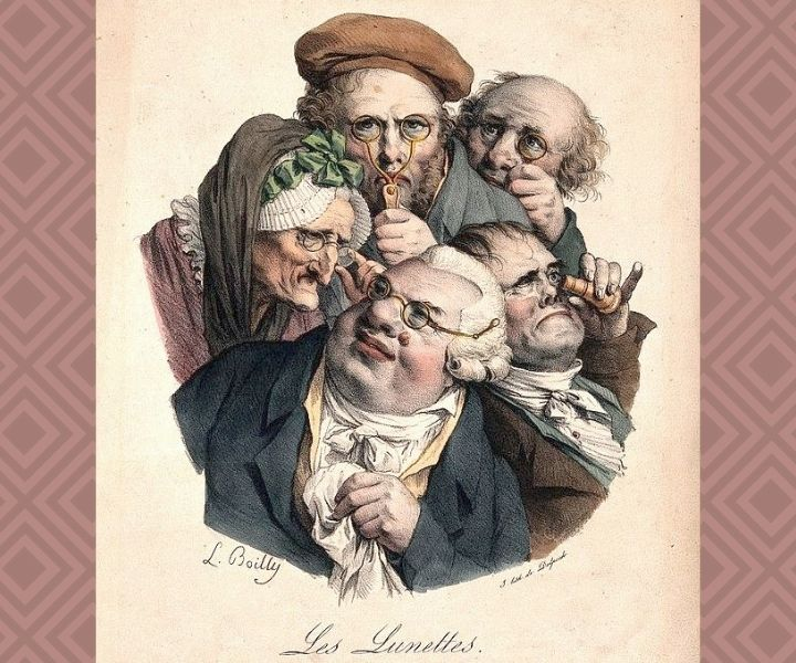 Les lunettes: Five people looking through various types of spectacles. Colour lithograph.