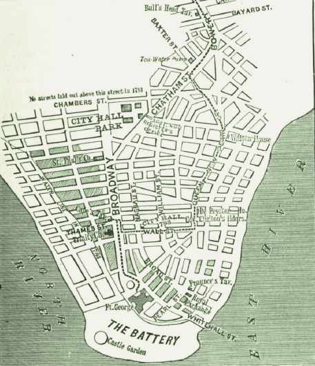 The map shows the bottom portion of Manhattan. about 3/4 of the way up, the map stops just above City Hall.
