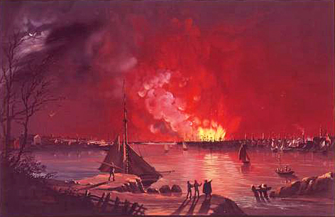 View of the Great Fire in New York, December 16–17, 1835, as seen from Williamsburg, Brooklyn, painted by Nicolino Calyo