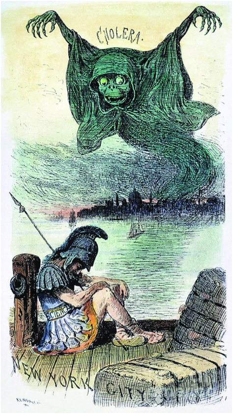 U.S. CARTOON: CHOLERA, 1883. 'Is This a Time for Sleep?' American cartoon, 1883, urging more vigilance and action to vanquish public health diseases such as cholera, here shown as a monster arriving in New York City harbor while 'Science' sleeps on his watch.