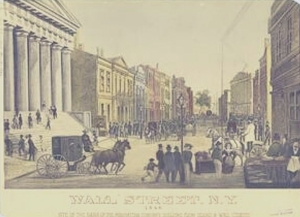 A view down Wall Street in 1846. A horse and carriage is leaving a civic building on the left with pediment and columns. There are people on the street. Lots of other buildings after that first one.