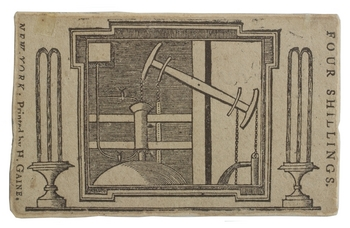 Design of Colles' waterworks steam engine as four shilling bank note.