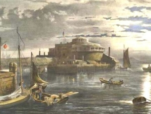 Watercolor of Castle Garden surrounded by the bay with boats in the water, a sunrise behind it.