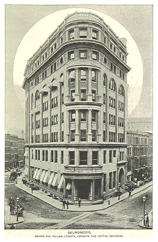 Delmonico's corner/wedge-shaped building.