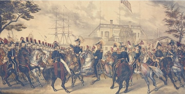 A military parade for General Lafayette. Men on horseback, tall ship masts rising behind them