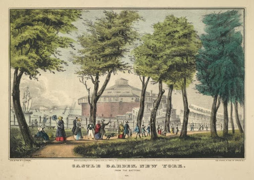 Lithograph of Castle Garden with trees and people in the forefront.