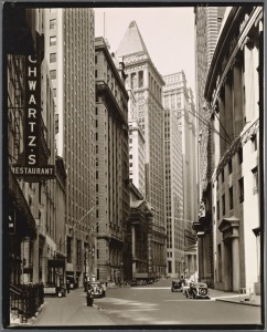 Schwartz's Restaurant, 1936. A vertical sign tucked in with the skyscrapers of downtown near Wall Street.